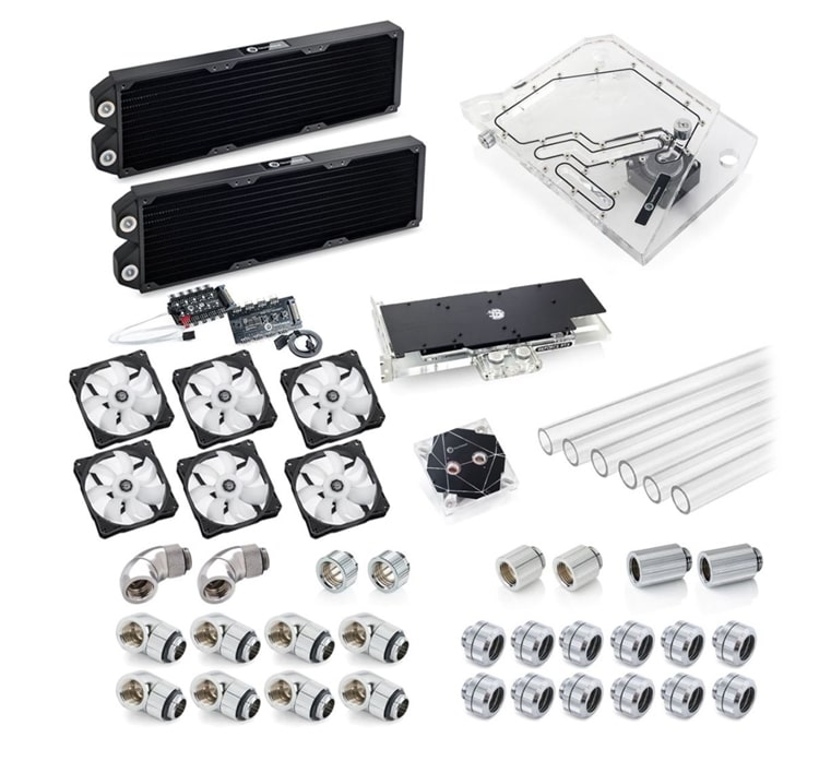 Contents of a Bitspower Touchaqua Sedna Water Cooling Kit