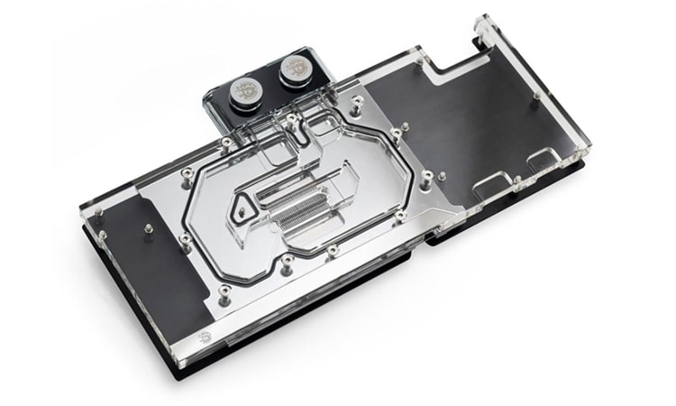 An acrylic full-coverage GPU water block from Bitspower.