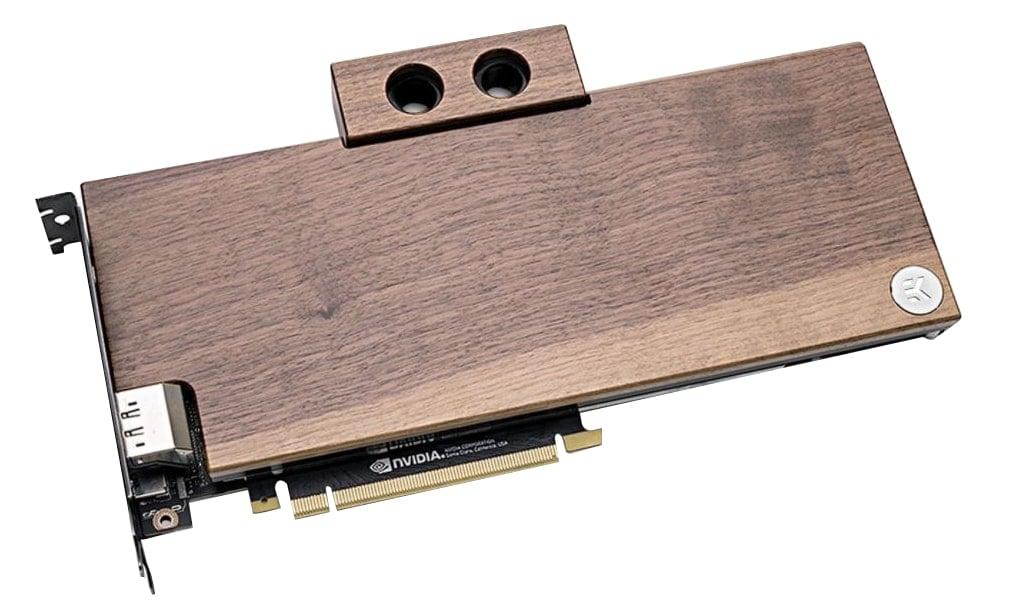 EK's Lignum solid wood GPU water block.