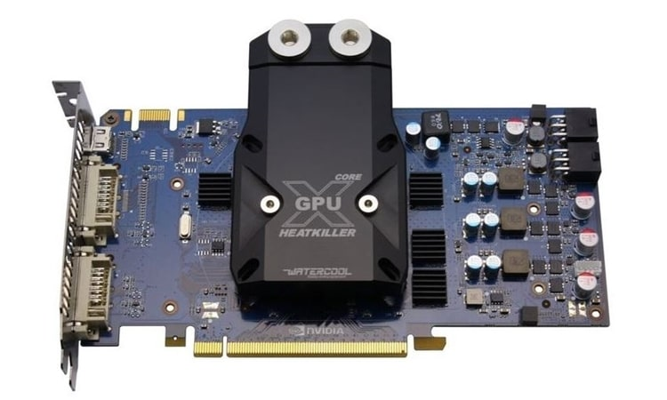 Watercool heatkiller universal GPU water block installed
