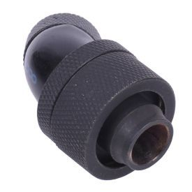 """Alphacool HF G1/4"""" to 13mm ID, 19mm OD Compression Fitting for Soft Tubing, 45 Degree Rotary, Deep Black"""
