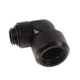 """Alphacool Eiszapfen G1/4"""" HardTube Compression Fitting, 16mm OD, 90? Rotary, Deep Black"""