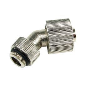 """Aquatuning G1/4"""" to 10mm ID, 16mm OD Compact Compression Fitting for Soft Tubing, 45 Degree Rotary, Silver Nickel"""
