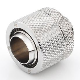 """Bitspower G1/4"""" to 7/16"""" ID, 5/8"""" OD Compression Fitting V2 for Soft Tubing, Silver Shining"""