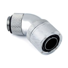 """Bitspower G1/4"""" to 7/16"""" ID, 5/8"""" OD Compression Fitting for Soft Tubing, CC6 Ultimate, 45 Degree Dual Rotary, Silver Shining"""