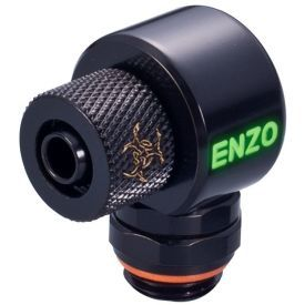 """Enzotech G1/4"""" to 1/4"""" ID, 3/8"""" OD Compression Fitting for Soft Tubing, 90 Degree Rotary, Black"""