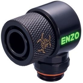 """Enzotech G1/4"""" to 1/2"""" ID, 5/8"""" OD Compression Fitting for Soft Tubing, 90 Degree Rotary, Black"""