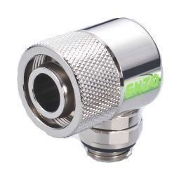 """Enzotech G1/4"""" to 1/2"""" ID, 3/4"""" OD Compression Fitting for Soft Tubing, 90 Degree Rotary, Chrome"""