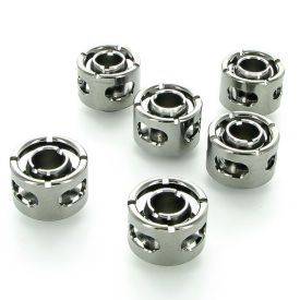 """Monsoon G1/4"""" to 1/2"""" ID, 3/4"""" OD Free Center Compression Fitting for Soft Tubing, Black Chrome, 6-pack"""