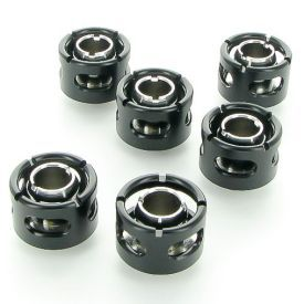"""Monsoon G1/4"""" to 1/2"""" ID, 3/4"""" OD Free Center Compression Fitting for Soft Tubing, Matte Black, 6-pack"""