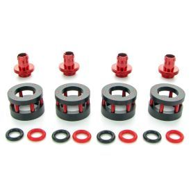 """Monsoon G1/4"""" to 3/8"""" ID, 5/8"""" OD Chain Gun Compression Fitting for Soft Tubing, Red, 4-pack"""