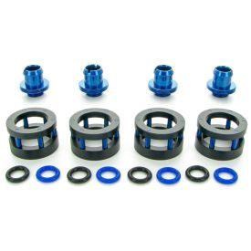 """Monsoon G1/4"""" to 1/2"""" ID, 3/4"""" OD Chain Gun Compression Fitting for Soft Tubing, Blue, 4-pack"""