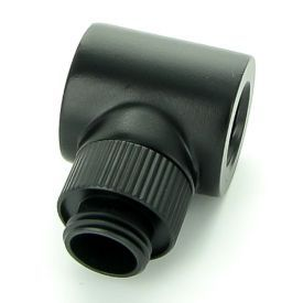 """Monsoon G1/4"""" 90 Degree Rotary Fitting with Light Port, 5/8"""" OD Matched Body, Matte Black"""