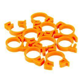 """Monsoon Premium Reusable UV Clamps for 5/8"""" OD Tubing, UV Orange, 10-pack"""