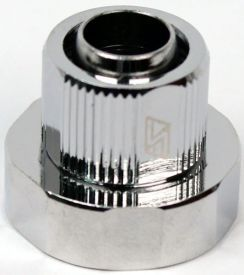 """Swiftech 3/8"""" ID, 1/2"""" OD Compression Fitting End Cap for Quick Disconnect Couplings, Chrome"""