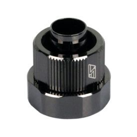 """Swiftech 3/8"""" ID, 5/8"""" OD Compression Fitting End Cap for Quick Disconnect Couplings, Black Chrome"""