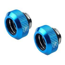 "Bitspower Touchaqua G1/4"" Tighten Fitting for 12mm OD Hard Tubing, Blue, 2-pack"