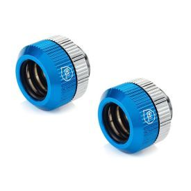 """Bitspower Touchaqua G1/4"""" Dual O-Ring Tighten Fitting for 12mm OD Hard Tubing, Blue, 2-pack"""