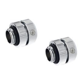 """Bitspower Touchaqua Male G1/4"""" to Female Adjustable Link Pipe 16-22MM, Glorious Silver, 2-pack"""