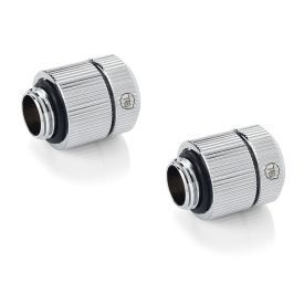 """Bitspower Touchaqua Male G1/4"""" to Female Adjustable Link Pipe 22-31MM, Glorious Silver, 2-pack"""