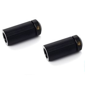 """Bitspower Touchaqua Female G1/4"""" to Female Adjustable Link Pipe 41-69MM, Glorious Black, 2-pack"""