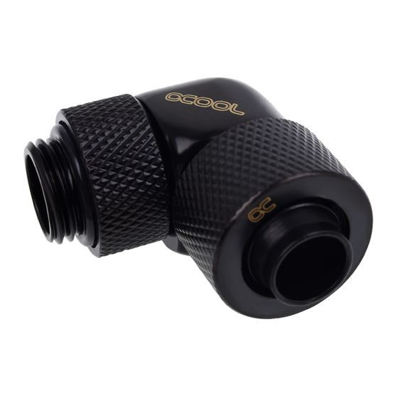 """Alphacool Eiszapfen G1/4"""" to 10mm ID, 13mm OD Compression Fitting for Soft Tubing, 90° Rotary"""