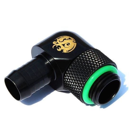 """Bitspower G1/4"""" to 3/8"""" Barb Fitting for Soft Tubing, 90° Single Rotary"""