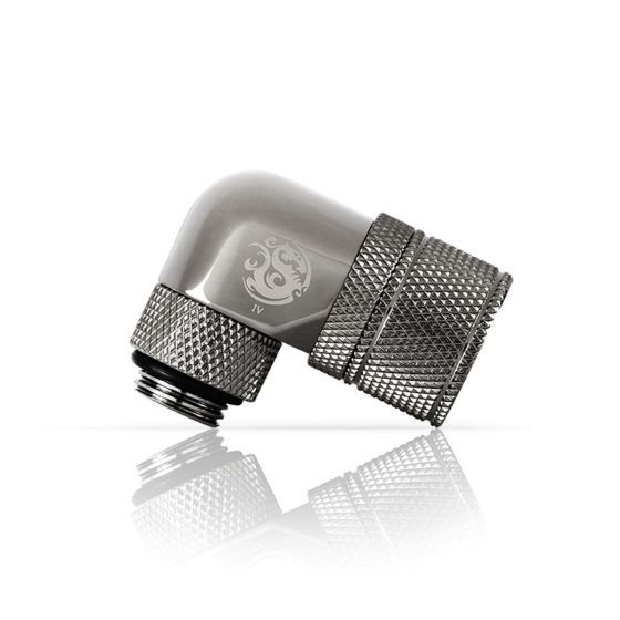 """Bitspower G1/4"""" to 3/8"""" ID, 5/8"""" OD Compression Fitting for Soft Tubing, CC3 Ultimate, 90° Dual Rotary"""