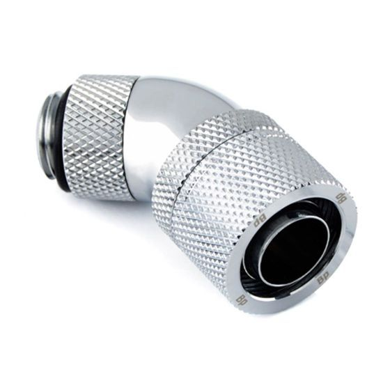 """Bitspower G1/4"""" to 7/16"""" ID, 5/8"""" OD Compression Fitting for Soft Tubing, CC6 Ultimate, 45? Dual Rotary"""
