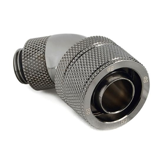 """Bitspower G1/4"""" to 1/2"""" ID, 3/4"""" OD Compression Fitting for Soft Tubing, CC5 Ultimate, 45? Dual Rotary"""