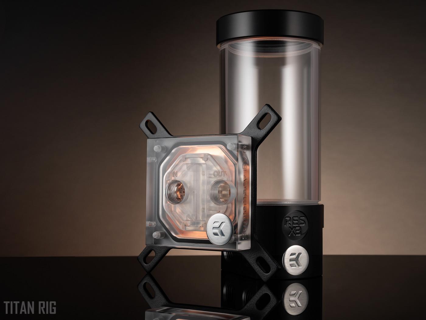 EKWB reservoir and copper CPU water block in EK custom water cooling kits